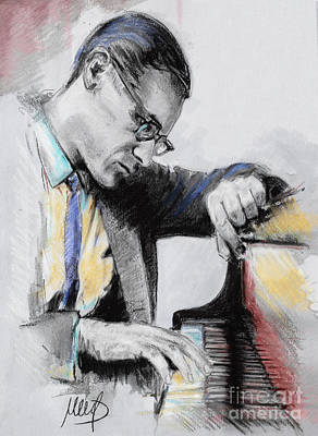 Jazz Drawing - Evans Bill by Melanie D