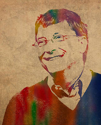 Bill Gates Microsoft Ceo Watercolor Portrait On Worn Distressed Canvas Art Print