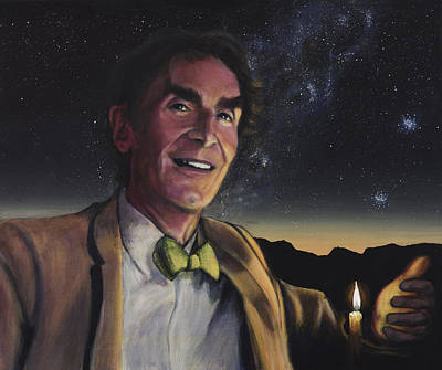 Cosmos Painting - Bill Nye - A Candle In The Dark by Simon Kregar