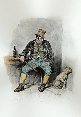 Thief Drawing - Bill Sykes And His Dog, From Charles by Frederick Barnard