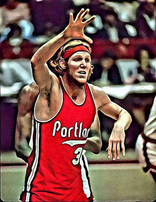 Clippers Painting - Bill Walton by Florian Rodarte