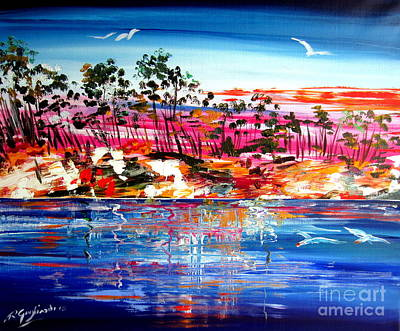 Painting - Billabong At Sunset Northern Territory Australia by Roberto Gagliardi