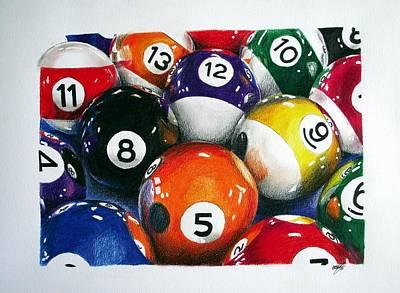 Billiard Drawing - Billiard Balls by Aaron De la Haye