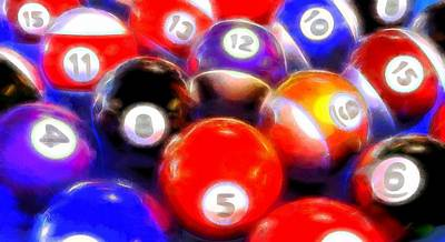 Billiard Mixed Media - Billiard Balls On The Table by Dan Sproul