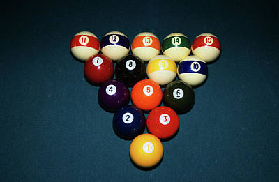 Rack Photograph - Billiard Balls Racked Up On Pool Table by Vintage Images