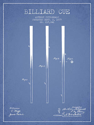 Pool Stick Digital Art - Billiard Cue Patent From 1879 - Light Blue by Aged Pixel