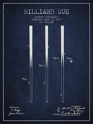 Pool Stick Digital Art - Billiard Cue Patent From 1879 - Navy Blue by Aged Pixel