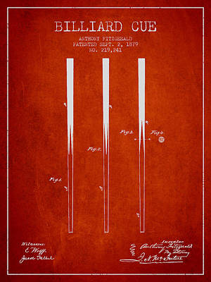 Pool Stick Digital Art - Billiard Cue Patent From 1879 - Red by Aged Pixel