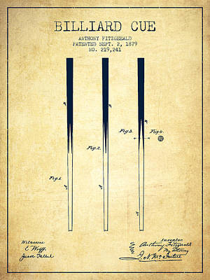 Pool Stick Digital Art - Billiard Cue Patent From 1879 - Vintage by Aged Pixel