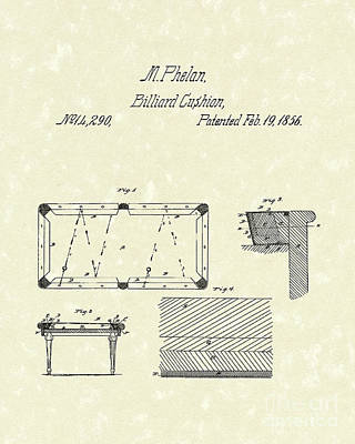 Drawing - Billiard Cushion 1856 Patent Art by Prior Art Design