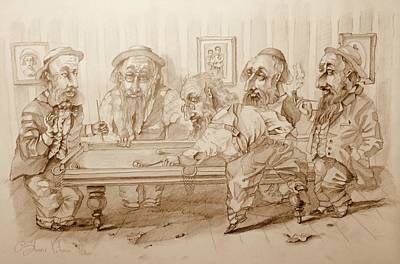 Jewish Humor Painting - Billiard Players by Andrey Vutyanov