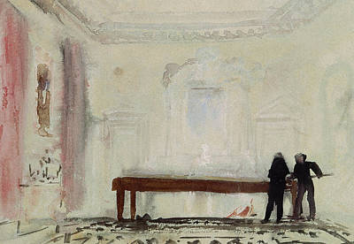 Gouache Abstract Painting - Billiard Players At Petworth House by Joseph Mallord William Turner