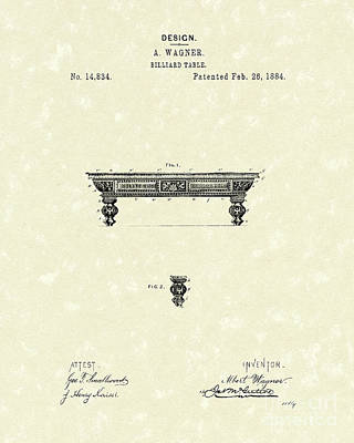 Drawing - Billiard Table 1884 Patent Art by Prior Art Design