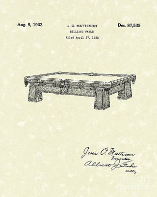Drawing - Billiard Table 1932 Patent Art by Prior Art Design