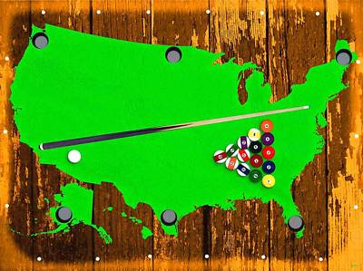 Billiard Mixed Media - Billiard Table America by Daniel Janda