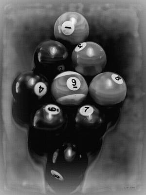 Billiards Art - Your Break - Bw  Art Print by Lesa Fine