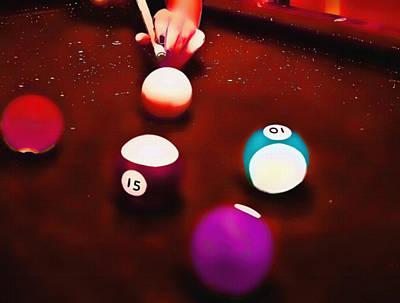 Mixed Media - Billiards Art - Your Break Red by Lesa Fine