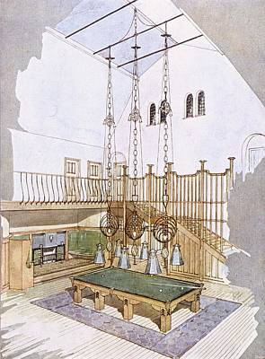Art Nouveau Drawing - Billiards Room, Designed By George by .