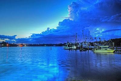Digital Art - Billies Harbor On Blue Moon Morning by Michael Thomas