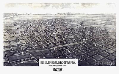 Yellowstone Drawing - Billings - Montana - 1904 by Pablo Romero