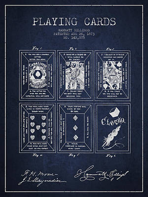 Playing Cards Drawing - Billings Playing Cards Patent Drawing From 1873 - Navy Blue by Aged Pixel