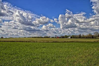 Billow Skies On Green Art Print by Bill Tiepelman