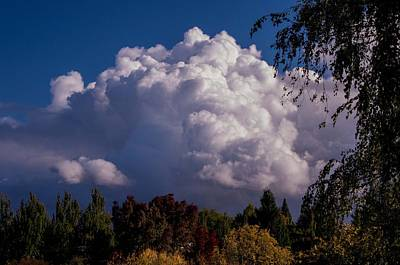 Fall Photograph - Billowy Clouds by Teresa Herlinger