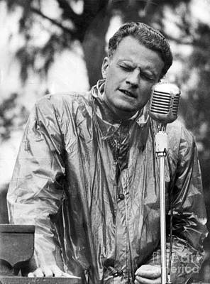 Billy Graham Jr. Speaking In Boston 1950 Print by The Harrington Collection