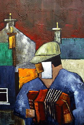 Accordian Painting - Billy The Busker by Val Byrne