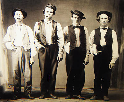 Billy The Kid Doc Holliday Jesse James And Charlie Bowdre Art Print by Bill Cannon
