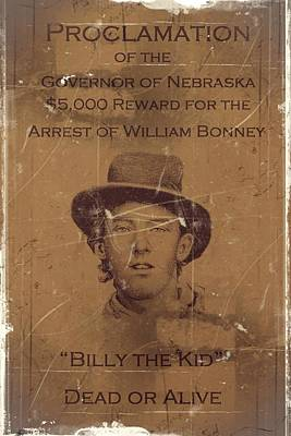 Cabin Wall Digital Art - Billy The Kid Wanted Poster by Movie Poster Prints