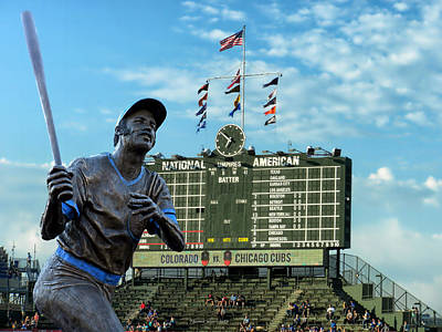 Wrigley Field Digital Art - Billy Williams Chicago Cub Statue by Thomas Woolworth