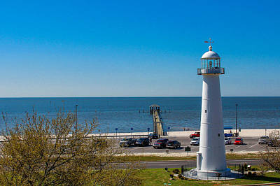 Biloxi Lighthouse And The Gulf Of Mexico Art Print
