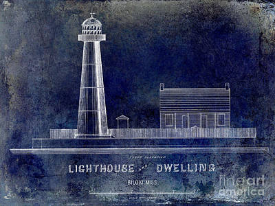 Elevation Drawing - Biloxi Lighthouse Drawing Blue by Jon Neidert