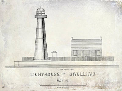 Elevation Drawing - Biloxi Lighthouse Drawing by Jon Neidert