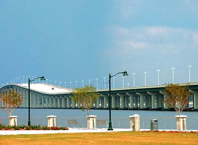 Biloxi - Ocean Springs Bridge Print by Cathy Jourdan