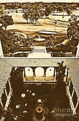 Landmarks Digital Art - Biltmore Coral Gables Miami Tower Suite View Rustic Digital Art by Shawn O'Brien