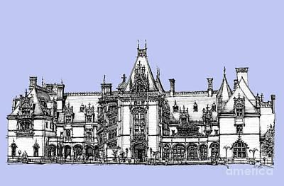 Asheville Drawing - Biltmore Estate In Light Blue by Adendorff Design