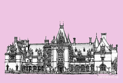Chateau Drawing - Biltmore Estate In Pink by Adendorff Design