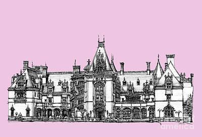 Lilacs Drawing - Biltmore Estate In Pink by Adendorff Design
