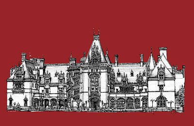 Castles Drawing - Biltmore Estate Red by Building  Art
