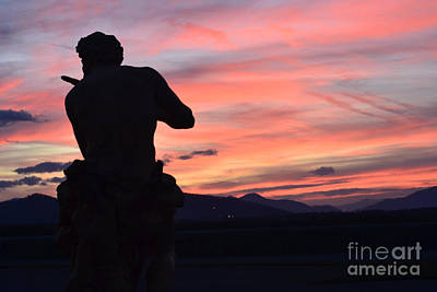 Photograph - Biltmore Estates Mansion Italian Statue Sculpture At Sunset In Asheville North Carolina by Kathy Fornal