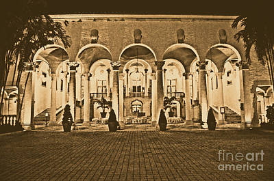 Digital Art - Biltmore Hotel Arched Colonnade And Grand Ballroom Courtyard Coral Gables Miami Rustic Digital Art by Shawn O'Brien