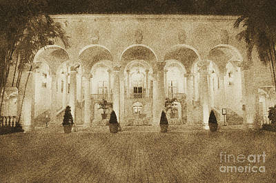 Digital Art - Biltmore Hotel Arched Colonnade And Grand Ballroom Courtyard Coral Gables Miami Vintage Digital Art by Shawn O'Brien