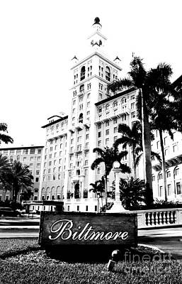 Digital Art - Biltmore Hotel Facade And Sign Coral Gables Miami Florida Bw Conte Crayon Digital Art by Shawn O'Brien