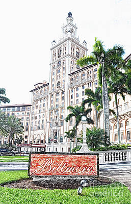 Digital Art - Biltmore Hotel Facade And Sign Coral Gables Miami Florida Colored Pencil Digital Art by Shawn O'Brien