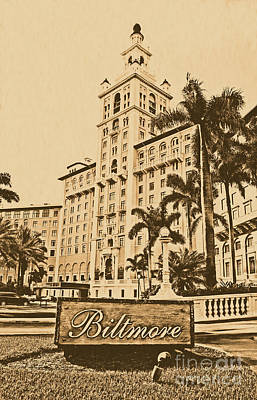 Digital Art - Biltmore Hotel Facade And Sign Coral Gables Miami Florida Rustic Digital Art by Shawn O'Brien