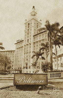 Digital Art - Biltmore Hotel Facade And Sign Coral Gables Miami Florida Vintage Digital Art by Shawn O'Brien