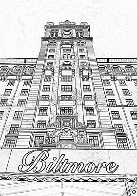 Digital Art - Biltmore Hotel Miami Coral Gables Florida Exterior Awning And Tower Black And White Digital Art by Shawn O'Brien