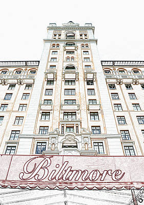 Digital Art - Biltmore Hotel Miami Coral Gables Florida Exterior Awning And Tower Colored Pencil Digital Art by Shawn O'Brien